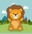 cute lion adorable landscape natural vector image