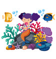 cute mermaid playing harp with fish underwater vector image vector image