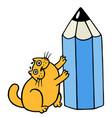 cute orange fat cat hugging blue pencil vector image