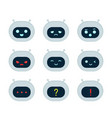 cute robot bot face emotion character set vector image vector image