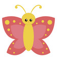 cute yellow butterfly on white background vector image vector image