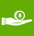 dollar in hand icon green vector image vector image
