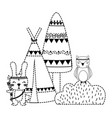 dotted shape rabbit and owl animal with camp and vector image vector image