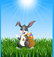 easter bunny rabbit with easter eggs a sack of ful vector image vector image