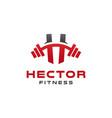 elegant h gym fitness logo design vector image vector image