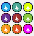 fighter icon sign Nine multi colored round buttons vector image vector image