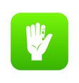 finger with blood dripping icon digital green vector image