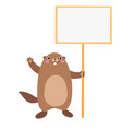 groundhog holding a blank sign board flat vector image vector image