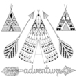 Hand drawn American native wigwam set with ethnic vector image vector image