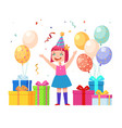 happy birthday girl young child with gifts vector image