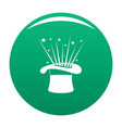 hat and firework icon green vector image vector image
