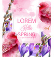 hello spring card watercolor with cute pink vector image vector image