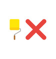 icon concept of yellow paint roller brush with x vector image vector image