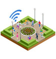 isometric free wi-fi signboard in park or campus vector image vector image
