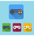 Joystick flat icons set Round colorful buttons vector image