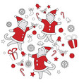 line art doodle cute dancing cats vector image vector image