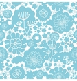 Lovely blue florals silhouettes seamless pattern vector image vector image