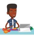 Man cooking healthy vegetable salad vector image vector image