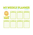 my weekly planner template cute calendar diary vector image