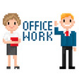 people cooperation man and woman pixel vector image vector image