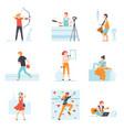 people enjoying various hobbies set people vector image