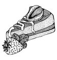 piece of cake with strawberries monochrome drawing vector image vector image