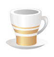 porcelain white cup with gold strips and saucer vector image vector image