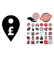 Pound Map Marker Flat Icon with Bonus vector image vector image