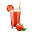 realistic tomato juice in glass ripe vector image vector image