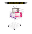 Retro Television in Cyber Monday Shopping Cart vector image vector image