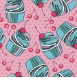 seamless background with cherry and cupcakes vector image