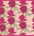 seamless pattern pink peonies vector image