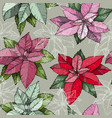seamless pattern with christmas poinsettia flowers vector image
