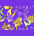 seamless pattern with iris flowers art nouveau vector image