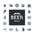 set of beer icons in retro style logo for pub vector image vector image