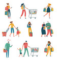 shopping people persons shop family basket cart vector image