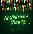 st patrick day cartoon poster with garland vector image