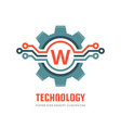 technology letter w - logo template concept vector image