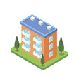 town building isometric 3d icon vector image vector image