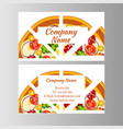 two business card template for pizza delivery vector image vector image