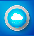 white cloud with rain icon on blue background vector image vector image