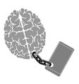 an image brain chained to phone a vector image
