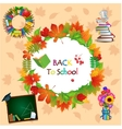 Back to school image with different objects vector image vector image