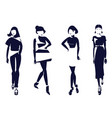 black and white fashion silhouettes of stylish vector image