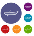 boat with paddle icons set vector image vector image