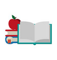 books and apple cartoons vector image vector image