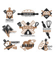 bread loaf and kitchen tools bakery shop isolated vector image vector image