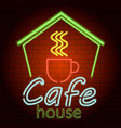 cafe house neon light icon realistic style vector image
