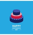 Cake with star and strip Happy independence day vector image vector image
