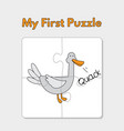 cartoon duck puzzle template for children vector image vector image